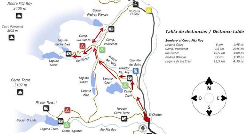 mapa trilhos El Chaltén