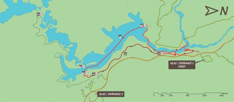 Mapa do Trilho E dos Lagos de Plitvice